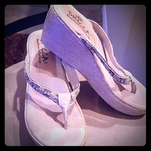 Sbicca Leather & Fabric Wedge Sandals